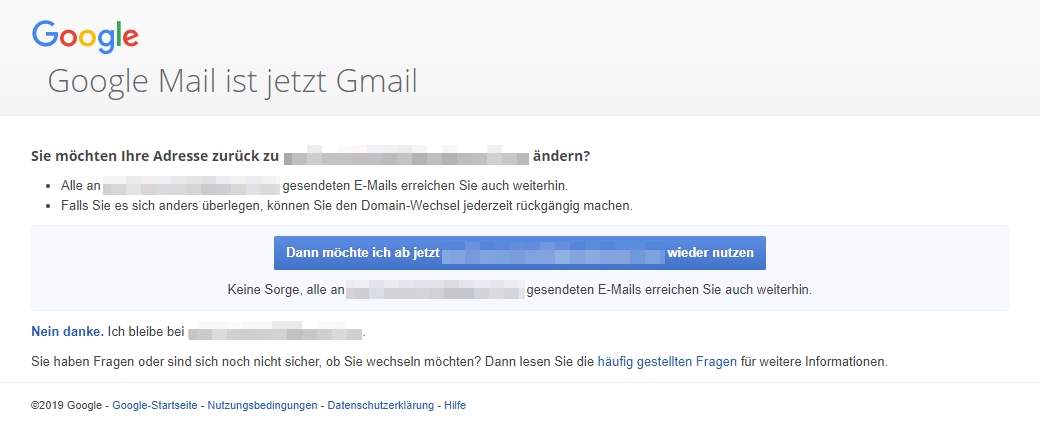 Option - @googlemail.com in @gmail.com ändern