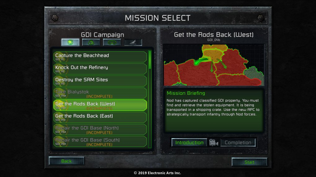 C&C Remastered - Mission-Select