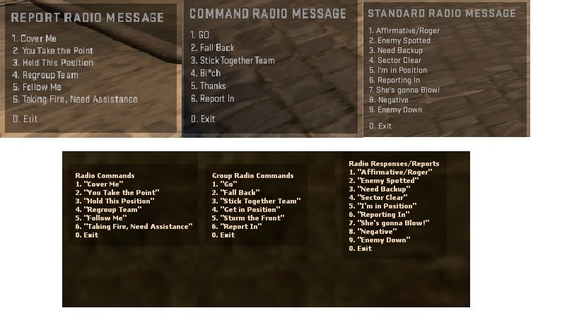 1.6 Radio menu for CSGO